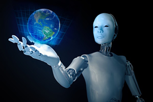 Robot holding holographic image of the Earth