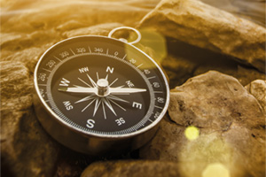 Compass on beach rocks in the sun