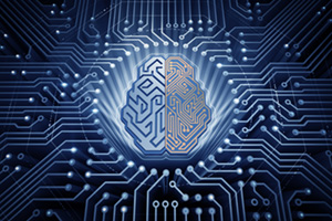 Cybernetic brain connected to a mother board