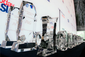 Adam Smith Awards Asia 2016 crystal awards on table