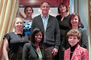 Women in Treasury New York Forum 2017 panellists on stairs