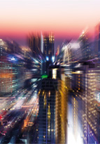 Abstract blurry cityscape at sunset