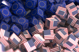 Boxes symbolising United States and Europe economic and political relationship