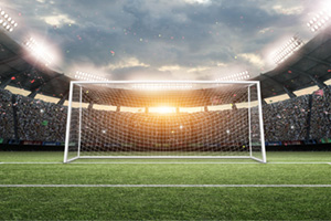 Football stadium goalpost wide open