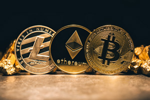 Golden cryptocurrencies such as Bitcoin, Ethereum and Litecoin