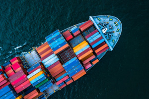 Aerial view of a container ship importing goods