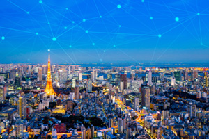 Connection concept over a city in Japan