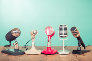 Bunch of retro, old microphones