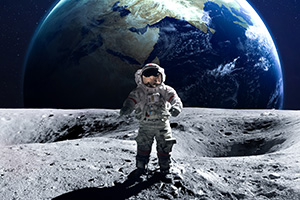 Brave astronaut spacewalking on the moon