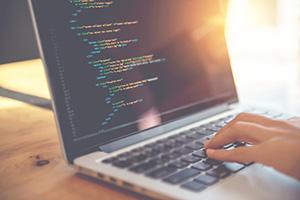 Closeup coding on screen, person coding html and programming on laptop, development web, developer