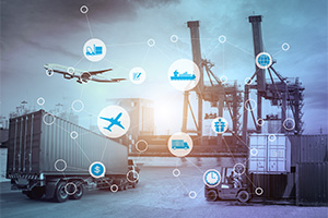 Business logistics concept of global connection techology in trade