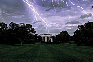 Lightning striking the White House in Washington