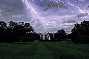 Lightning striking the White House in Washington