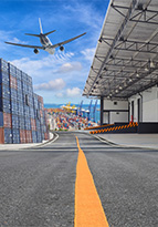 Industrial trade management area with containers, cargo and importing
