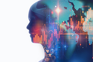 Double exposure image of person and virtual financial graph