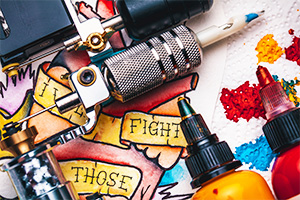 Tattoo supplies, includes inks and tattoo equipment