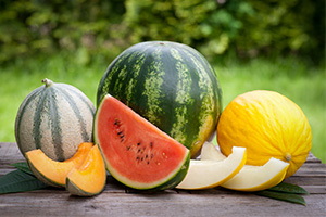 Bunch of fresh different types of melons