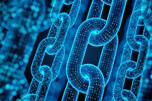 Digital code creating blockchain concept