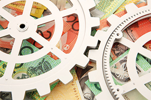 Gears over money notes