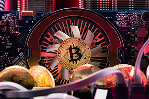 Inside a computer with circuit board, bitcoin taking over