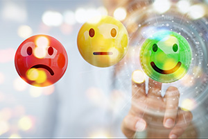 Customer survey not good, okay and good faces. Good being selected