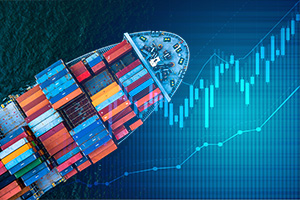 Cargo ship full of containers with trade graph overlay