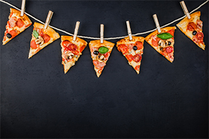 Slices of pizza hanging like garland flags