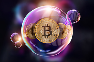 Gold bitcoin floating in a bubble