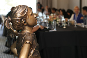 Fearless girl at the Silicon Valley WiT SSGA Roadshow