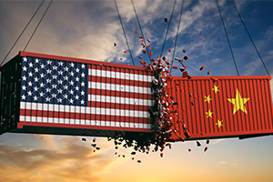 US and China themed cargo crates bashing into each other