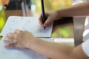 Child doing maths homework