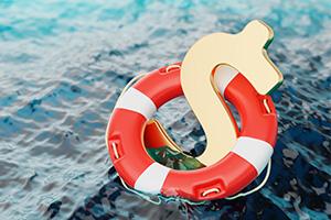US dollar sign inside a lifebuoy