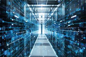 Corridor of a working data center