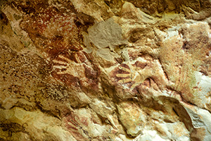Very old dayak paintings in the Beloyot cave near Merabu village in North Kalimantan (Borneo)
