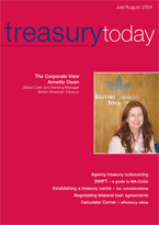 Treasury Today July/August 2004 magazine cover