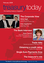 treasurytoday Magazine February 2008 cover
