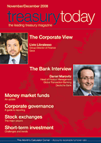treasurytoday Magazine November/December 2008 cover