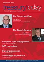 treasurytoday Magazine September 2009 cover