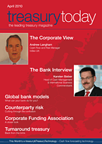 treasurytoday Magazine April 2010 cover