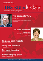 treasurytoday Magazine July/August 2010 cover