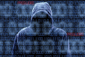 Isolated hacker with binary codes over them