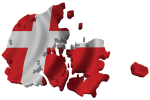 Map/flag of Denmark