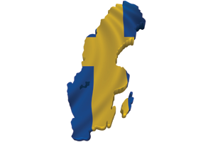 Map/flag of Sweden