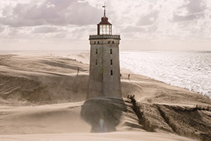 Lighthouse in the middle of a sandstorm