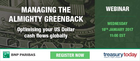 Webinar: Managing the Almighty Greenback – Optimising your US Dollar cash flows globally. Register now – Wednesday 18th January 2017 11:00 EST