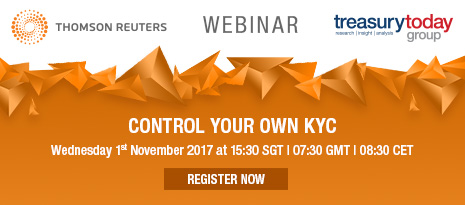 Thomson Reuters webinar with Treasury Today Group – Control your own KYC – 1st November at 07:30 GMT