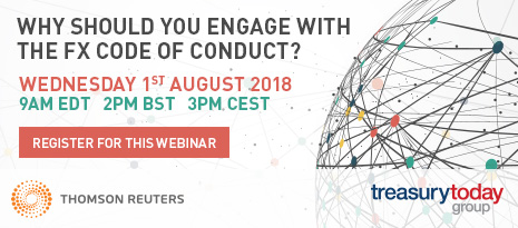 Thomson Reuters webinar in partnership with Treasury Today Group – Why should you adhere to the FX Code of Conduct? – 1st August at 14:00 BST