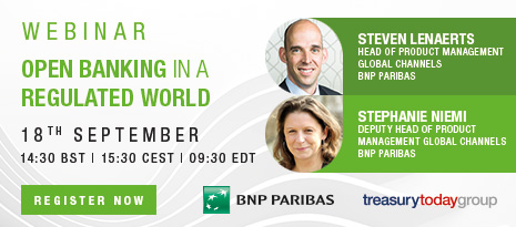 Treasury Today webinar with BNP Paribas – Open banking in a regulated world – 18th Sept at 14:30 BST – Register now!