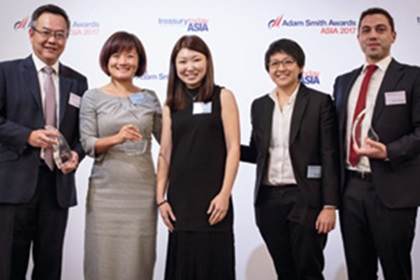 Photo of Gary Chan, Citi, Jessica Cheung, Joanna Ow and Kah Ying Ho, BW Maritime and Cédric Chambault, Kyriba.