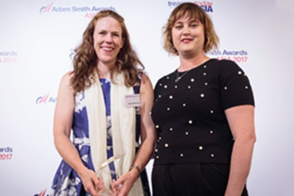 Photo of Morgan McKenney, Citi, collects the award on behalf of InterGlobe Aviation Limited, with Sophie Jackson.